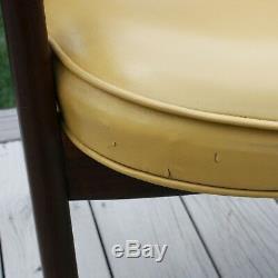 Vintage Mid Century Danish Modern Wood Armchair Lounge Arm Cocktail Gold Chair
