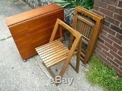 Vintage Mid-Century Drop Leaf Table and Folding Chairs
