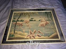 Vintage Mid-Century FLAMINGOS PICTURE by TURNER Wall Mantle MIRROR