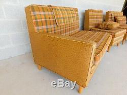 Vintage Mid Century Faux Ostrich & Plaid 3 Section Sofa