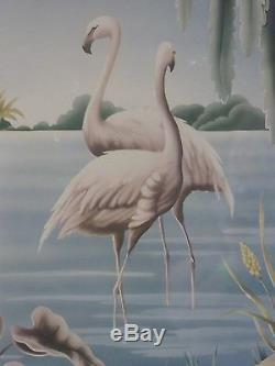 Vintage Mid Century Flamingo Picture by Turner Wall Mantle Mirror #33