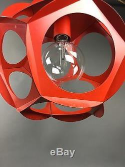 Vintage Mid Century Geometric Lamp Modern Swag Light Fixture Pendant Eames Era