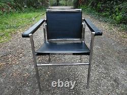 Vintage Mid Century Le Corbusier Swivel Back Chrome & Black Leather Style Chair