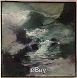 Vintage Mid Century Listed Artist Loa Sprung Abstract Oil Painting Large