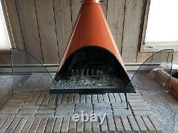 Vintage Mid Century Majestic Burnt Orange Cone Wood Fireplace