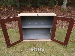 Vintage Mid Century Medical Dental Apothecary Glass & Metal Wall Cabinet