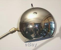 Vintage Mid Century Mod Gold Chrome Ball Floor Lamp