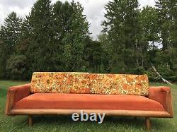 Vintage Mid Century Modern 1970s Groovy Floral Sofa Couch Orange MCM Retro VTG