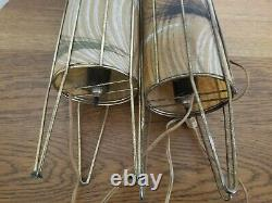 Vintage Mid Century Modern Atomic Cylinder Fiberglass And Metal Table Lamp Pair