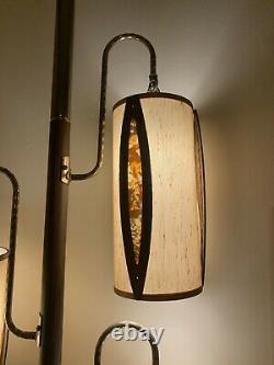 Vintage Mid Century Modern Atomic Orange Lucite Tension Pole Lamp Retro 1960s