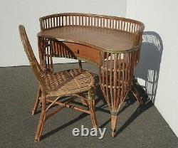 Vintage Mid Century Modern Bamboo Rattan Ficks Reed Writing Desk & Chair French