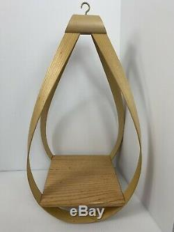 Vintage Mid Century Modern Bent Wood Hanging Planter Artistic Styling