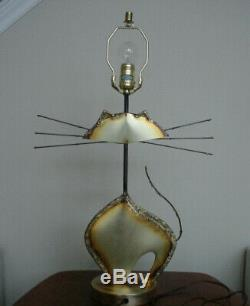 Vintage Mid Century Modern Brutalist Cat Sculpture Lamp Majestic and Cool