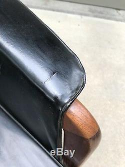 Vintage Mid Century Modern Bucket Lounge Arm Chair Black Upholstery Wood