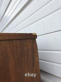 Vintage Mid Century Modern China Cabinet / Hutch With Cane Sliding Doors Walnut