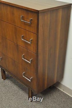 Vintage Mid Century Modern Danish Style Walnut & Chrome 4 Drawer Chest Dresser