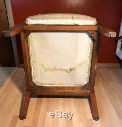 Vintage Mid Century Modern Danish Tiger Oak Wood Arm Chair Vinyl Lounge Eames