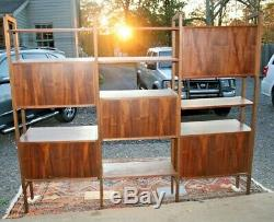 Vintage Mid Century Modern Danish Wall Unit System Bookshelf Desk Room Divider