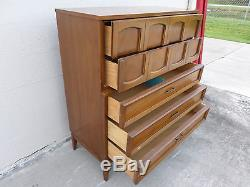 Vintage Mid Century Modern Dixie Tall Chest Of Drawers Highboy Arch Pattern MCM