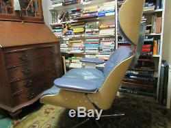 Vintage Mid Century Modern Eames Style Lounge Chair Plycraft HTF Blue Leather