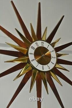 Vintage Mid Century Modern Elgin 26. Starburst Wall Clock Atomic MCM