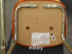 Vintage Mid Century Modern Gold Chrome & Rattan Tufted Orange Seat Accent Chair
