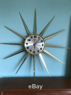 Vintage Mid Century Modern Large 30 Bulova Starburst Sunburst Wall Clock
