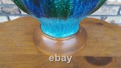 Vintage Mid Century Modern Large Drip Glaze Blue Green Textured Genie Lamp MCM