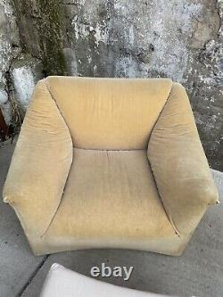 Vintage Mid Century Modern Ligne Roset Sofa Chair & Ottoman Lounge
