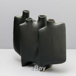Vintage Mid Century Modern (MCM) Toyo Ikebana Black Japanese Vase With Label