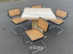 Vintage Mid Century Modern Marcel Breuer Chrome & Cane Cesca Arm Side Chair Set