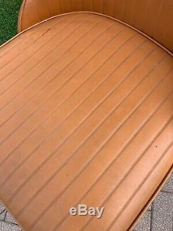 Vintage Mid Century Modern Metal Chrome Vinyl 4 Swivel Bar Stools Chair Stools