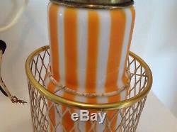 Vintage Mid-Century Modern Murano Glass Hanging Pendant Lights Lamps Orange 12T