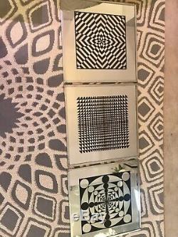 Vintage Mid Century Modern Op Art Pop Art Mirror 70s Retro Copeland Turner Style