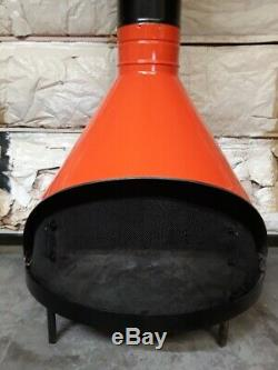 Vintage Mid Century Modern Orange Coat Of Arms Freestanding Cone Gas Fireplace