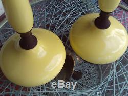 Vintage Mid Century Modern Pair Of 60'S Yellow Table Lamps
