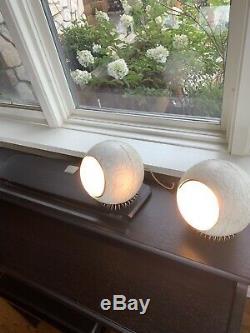 Vintage Mid Century Modern Pair Of Steber Orb Eyeball Lamp Metal