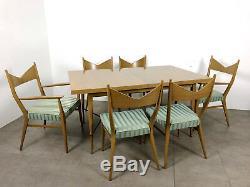 Vintage Mid Century Modern Paul McCobb Calvin Irwin Dining Table Mahogany Brass
