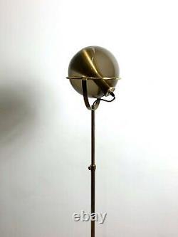 Vintage Mid Century Modern Rare Floor Lamp Brass Smoked Glass Raak Ligtelijn 60s