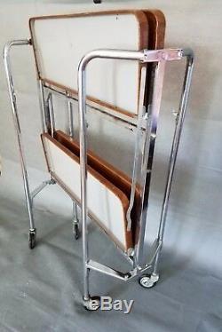 Vintage Mid Century Modern Rolling Bar Tea Cart Serving Table Folding 2 Shelves