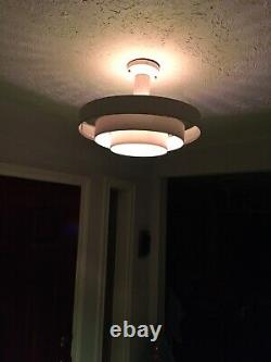 Vintage Mid-Century Modern Saturn UFO 3 ring hanging light fixture Kurt Versen