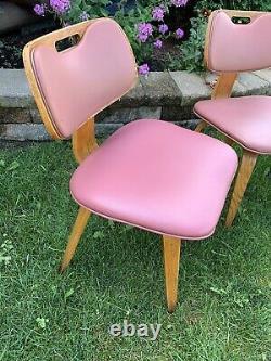 Vintage Mid Century Modern Set Of 3 Chairs Vinyl/Wood Solid