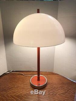 Vintage Mid Century Modern Space Age Mushroom Dome Orange White Table Lamp Light