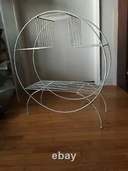 Vintage Mid Century Modern Steel Wire Hoop Planter Stand White