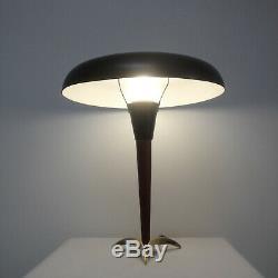 Vintage Mid Century Modern UFO Tripod Teak Brass Table Desk Lamp Danish Design
