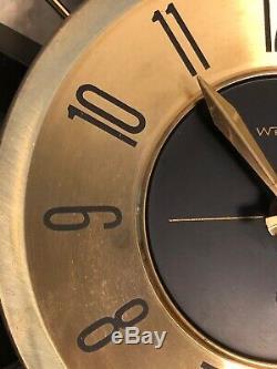 Vintage Mid Century Modern Welby Starburst Wall Clock Metal 25