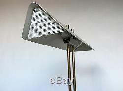 Vintage Mid Century Modern White Brass Banker Desk Table Lamp Thurston Laurel