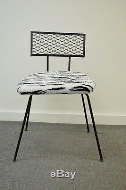 Vintage Mid Century Modern Wrought Iron Vanity Desk Chair Hairpin Salterini Sty