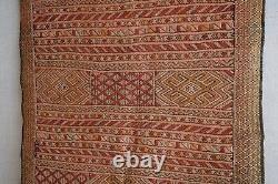 Vintage Mid Century Moroccan Flat Woven Silk Kilim Rug 158 x 104cm