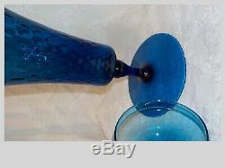 Vintage Mid Century Murano Empoli Apothecary Covered Teal Jar Italian Art Glass